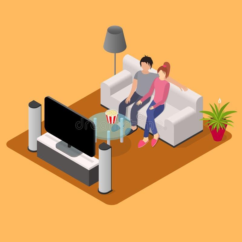 Ung älska sikt för tv för par hållande ögonen på isometrisk vektor royaltyfri illustrationer