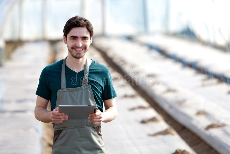 Ung affärsbonde som arbetar på hans minnestavla arkivbild