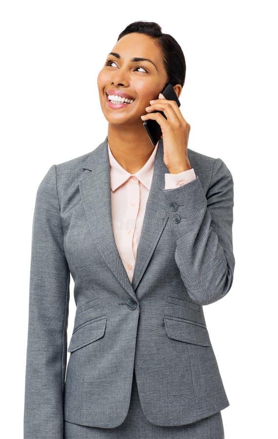 Ung affärskvinna Answering Smart Phone arkivbilder