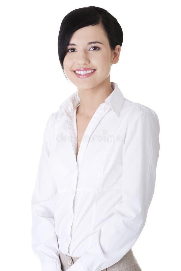 Ung affärskvinna eller deltagare i elegant kläder arkivfoto