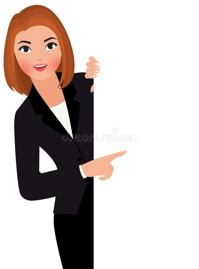 Ung affärskvinna i dräkten som rymmer det stora tomma vita tecknet royaltyfri illustrationer