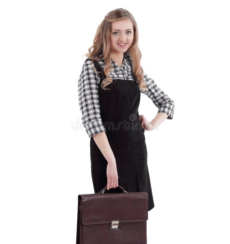 Ung affärskvinna med affärsläderportföljen fotografering för bildbyråer