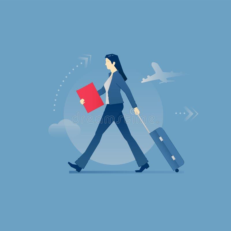 Ung affärskvinna som bär ett bagage i affärslopp vektor illustrationer