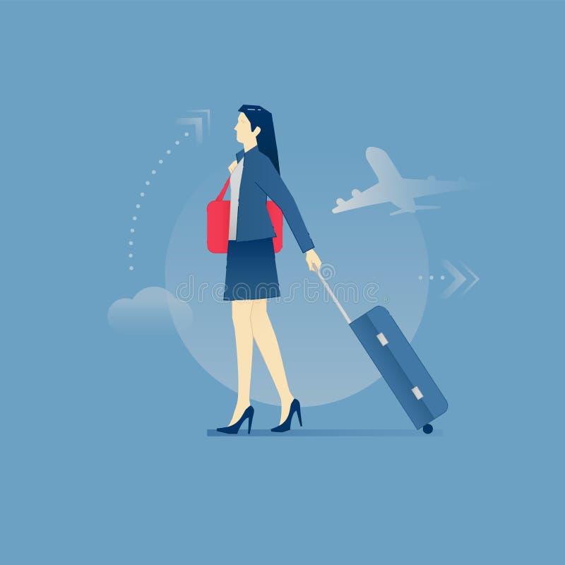 Ung affärskvinna som bär ett bagage och en portfölj i affär stock illustrationer