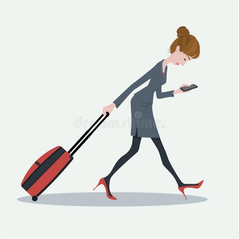 Ung affärskvinna som drar bagaget royaltyfri illustrationer