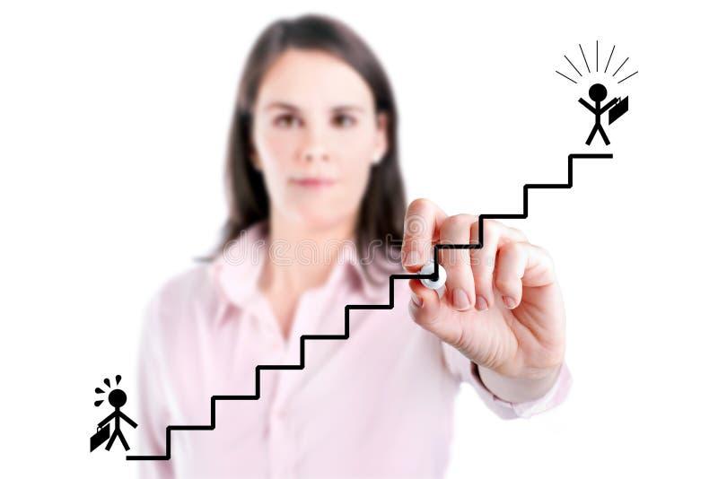 Ung affärskvinna som drar ett karriärstegebegrepp som isoleras på vit. arkivfoton