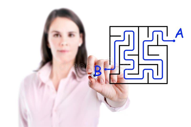 Ung affärskvinna som finner labyrintlösningshandstilen på whiteboarden. arkivbilder