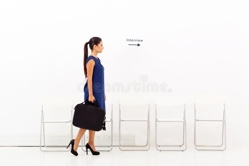Affärskvinnaintervju fotografering för bildbyråer
