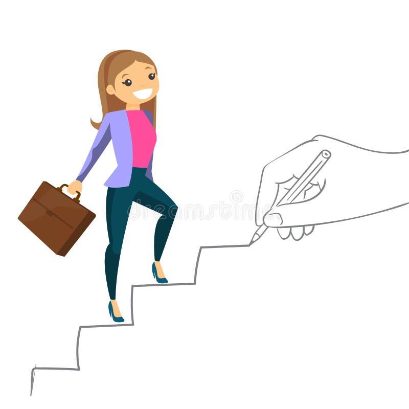Ung affärskvinna som klättrar karriärstegen royaltyfri illustrationer