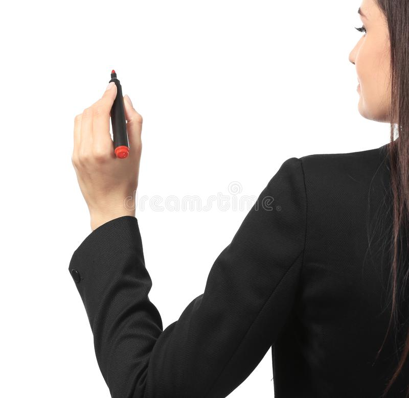 Ung affärskvinnahandstil på vit bakgrund arkivfoto