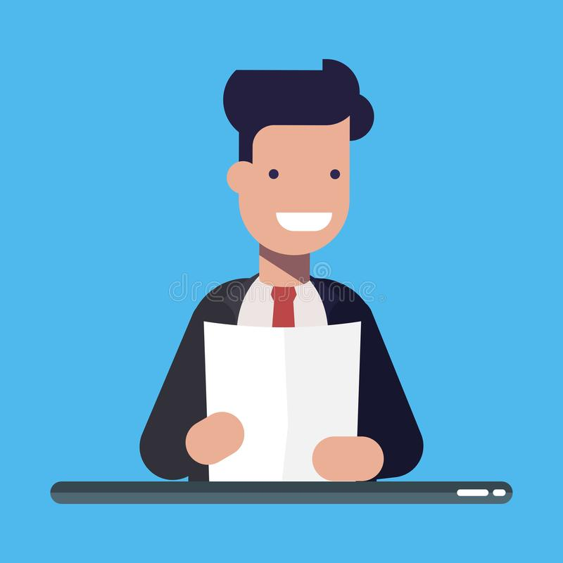 Ung affärsman eller chef med ett dokument eller ett ark av papper i händer Plan vektorillusration för tecknad film som isoleras p stock illustrationer
