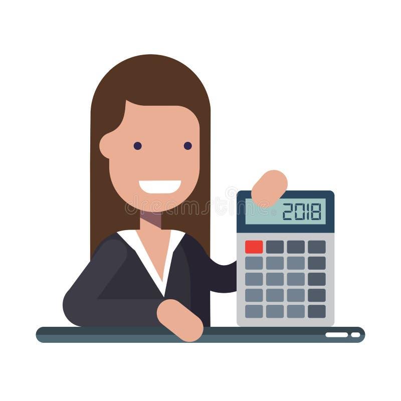 Ung affärsman eller chef med räknemaskinen i händer En erfaren finansiär Begreppet av finansiell läs-och skrivkunnighet stock illustrationer