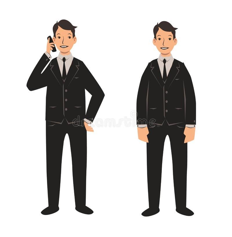 Ung affärsman i den svarta dräkten, främre sikt Uppsättning av två tecken Plan vektorillustration Isolerat på vit stock illustrationer
