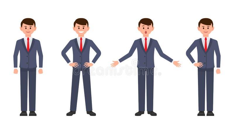 Ung affärsman i mörker - blått dräkttecknad filmtecken Vektorillustrationen av den smarta manliga kontoristen i olikt poserar royaltyfri illustrationer