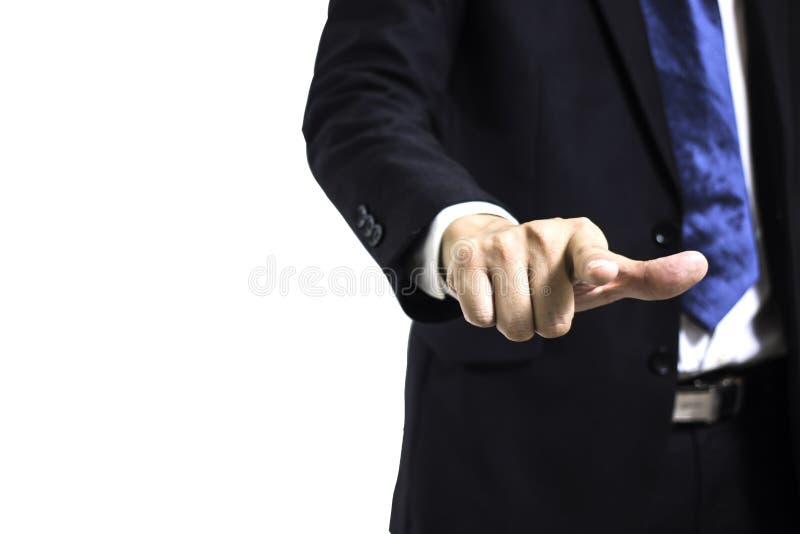 Ung affärsman med handfingret som pekar på skärmen royaltyfri foto