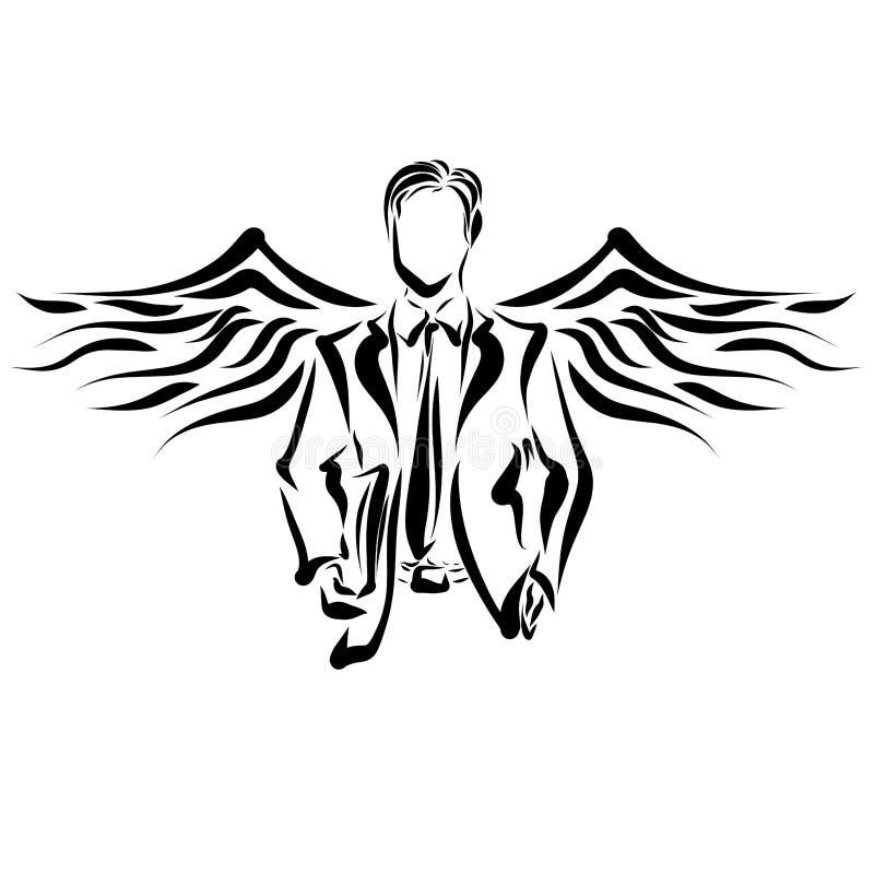 Ung affärsman med vingar royaltyfri illustrationer