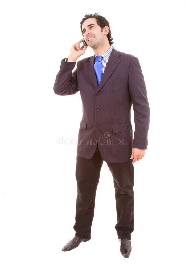 Ung affärsman på telefonen royaltyfria bilder