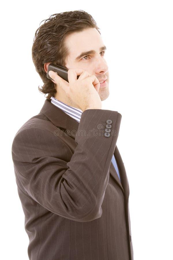 Ung affärsman på telefonen fotografering för bildbyråer