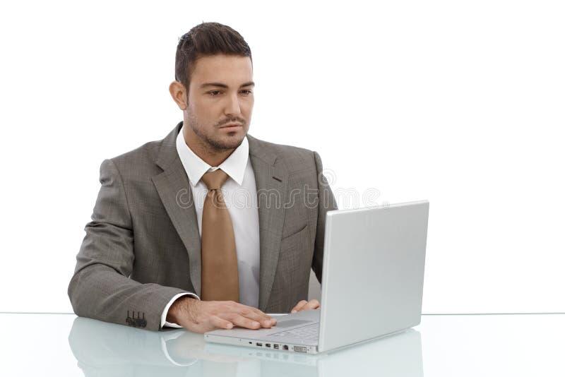 Ung affärsman som använder bärbar datordatoren arkivfoton