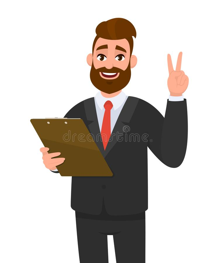 Ung affärsman som bär en dräktinnehavskrivplatta och gör eller visar seger, V, fred, gest två med handfingret person royaltyfri illustrationer