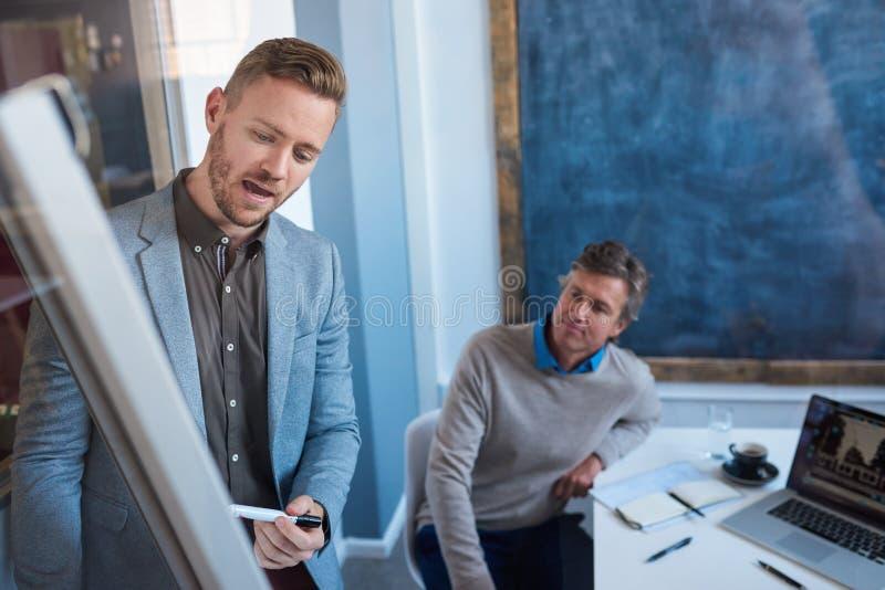 Ung affärsman som ger en presentation till coworkers i ett kontor arkivfoton