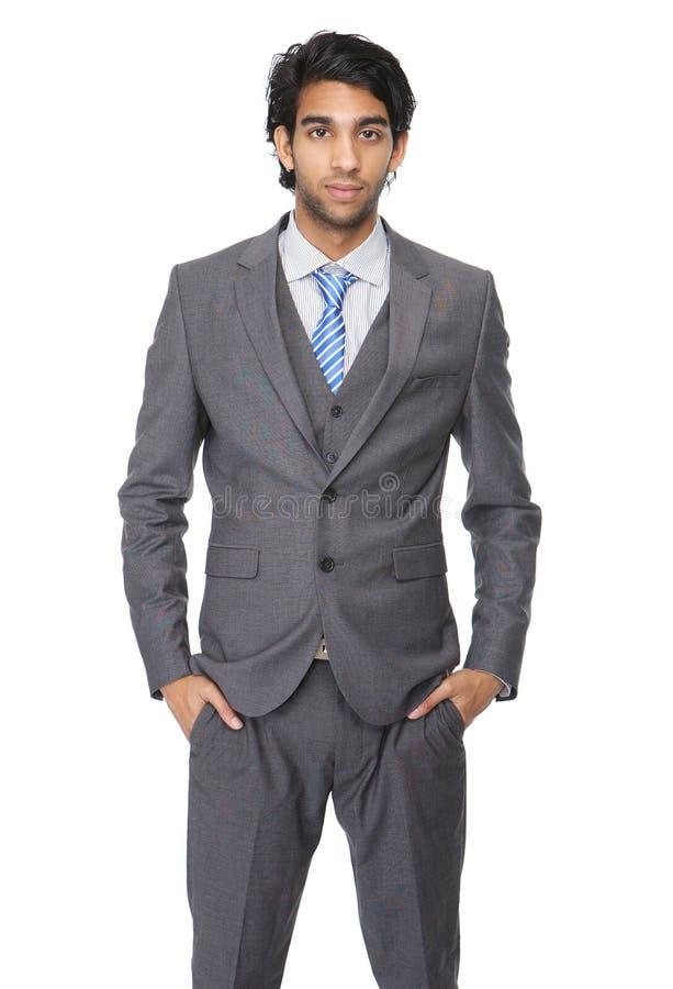 Ung affärsman som isoleras på vit bakgrund arkivfoto