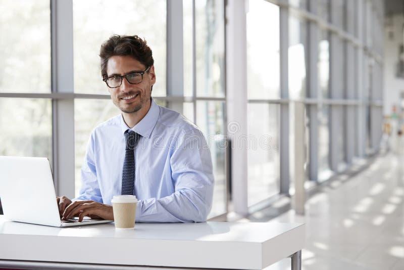 Ung affärsman som ler, medan arbeta på hans bärbar dator royaltyfri bild