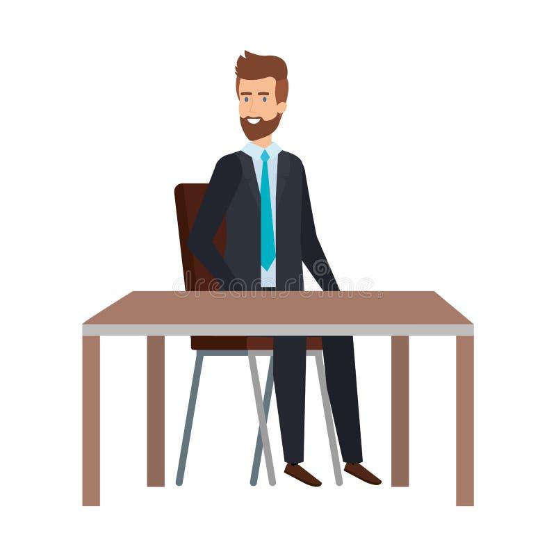 Ung affärsman som sitter i stol och tabell vektor illustrationer