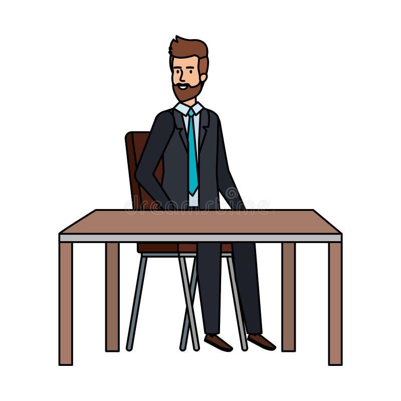 Ung affärsman som sitter i stol och tabell stock illustrationer