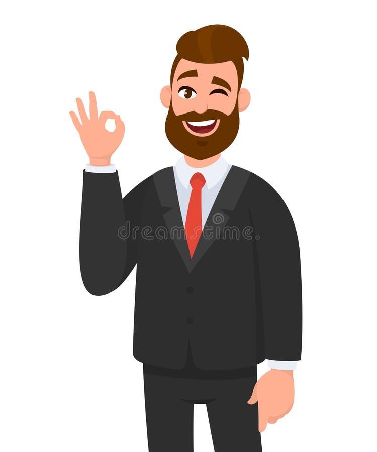 Ung affärsman som visar OKAY-/OKtecknet som gör en gest handen Sinnesrörelse- och kroppsspråkbegrepp vektor illustrationer