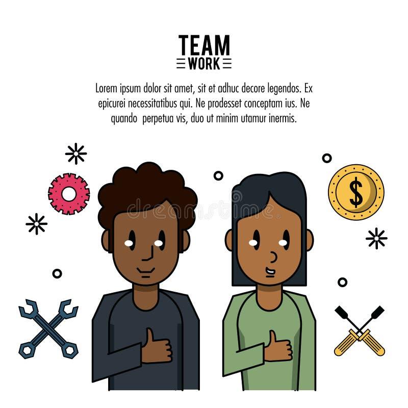 Ung affärsteamwork vektor illustrationer