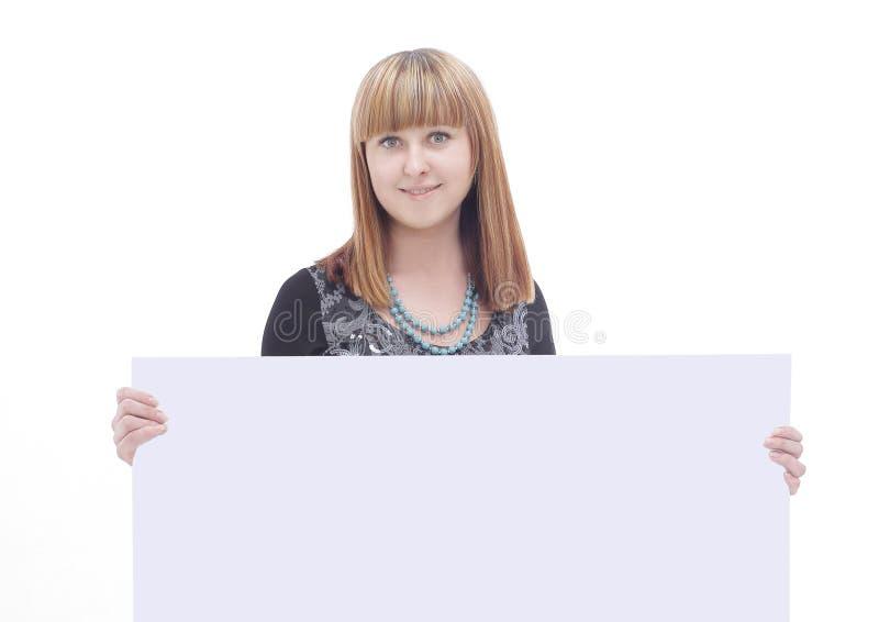 Ung affisch för mellanrum för visning för affärskvinna Isolerat på vit arkivfoton