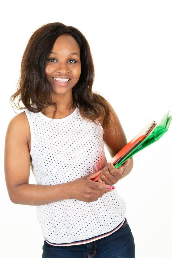 Ung afrikansk amerikan för skönhethögskolestudent royaltyfri bild