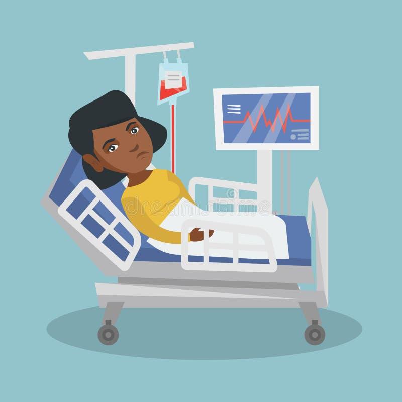 Ung afrikansk amerikankvinna som ligger i sjukhussäng vektor illustrationer