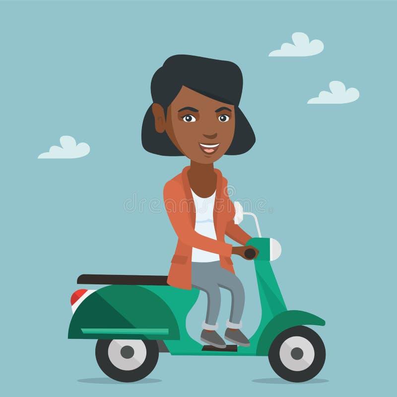 Ung afrikansk amerikankvinna som rider en sparkcykel royaltyfri illustrationer