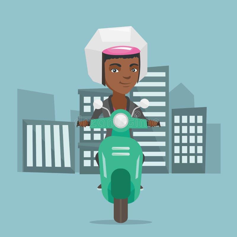 Ung afrikansk amerikankvinna som rider en sparkcykel vektor illustrationer