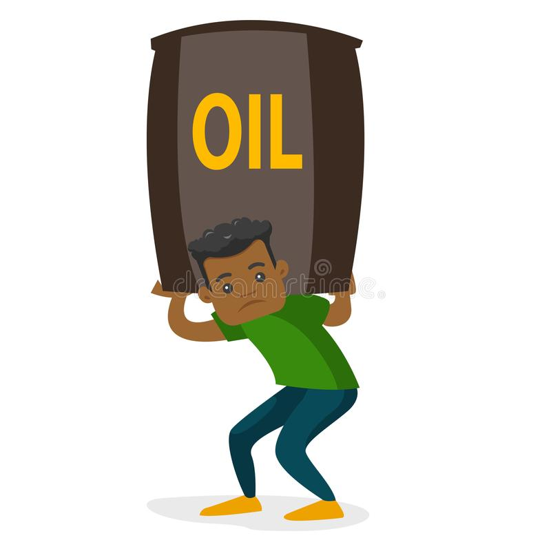 Ung afrikansk amerikanman som bär den olje- trumman stock illustrationer