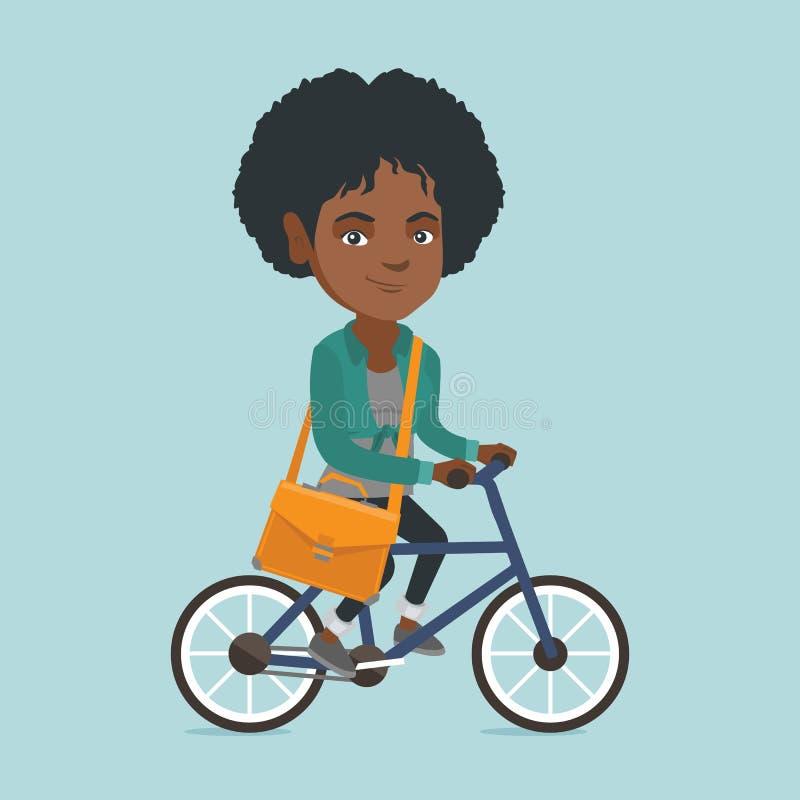 Ung afrikansk cykel för ridning för affärskvinna royaltyfri illustrationer