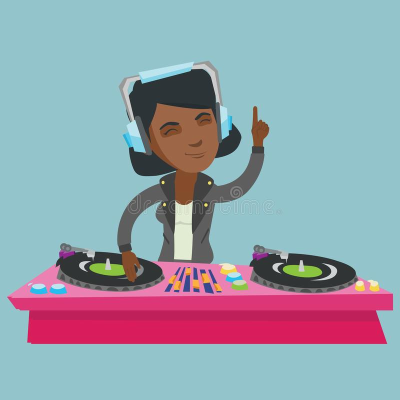 Ung afrikansk discjockey som blandar musik på skivtallrikar vektor illustrationer