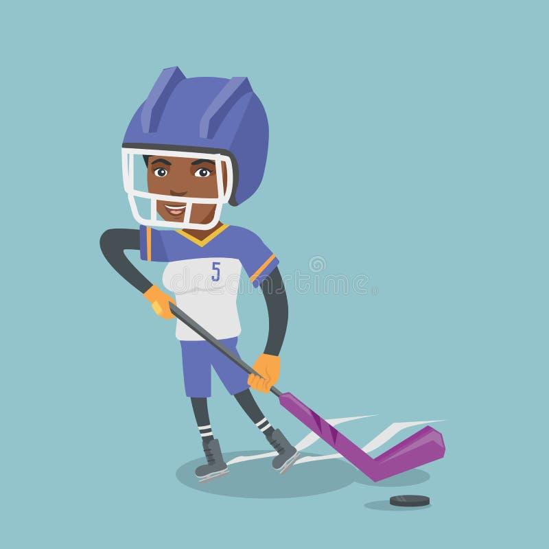 Ung afrikansk ishockeyspelare med en pinne royaltyfri illustrationer