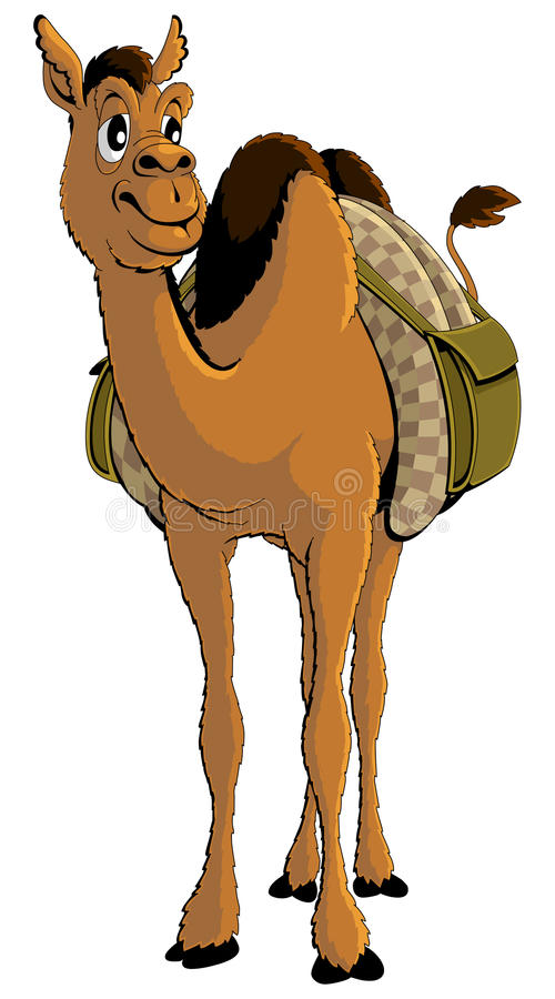 Ung afrikansk kamel för tecknad film med bagage stock illustrationer