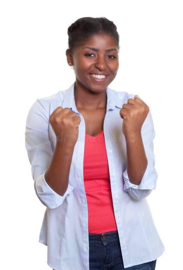 Ung afrikansk kvinna för bifall royaltyfria bilder
