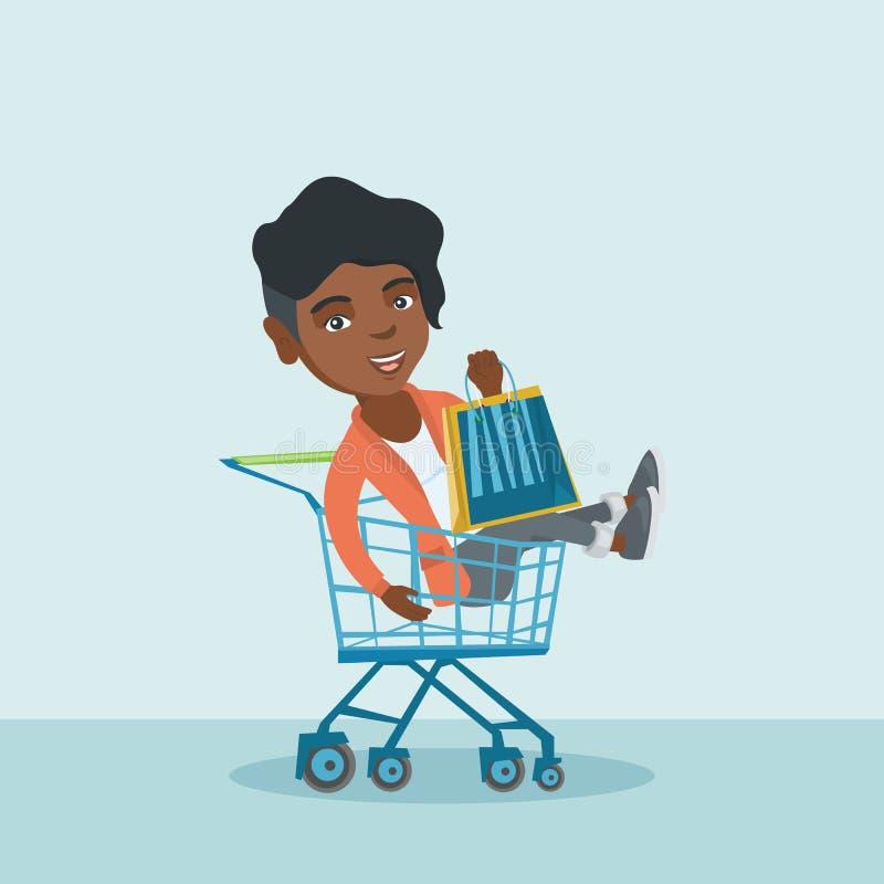 Ung afrikansk kvinnaridning i shoppingvagn royaltyfri illustrationer