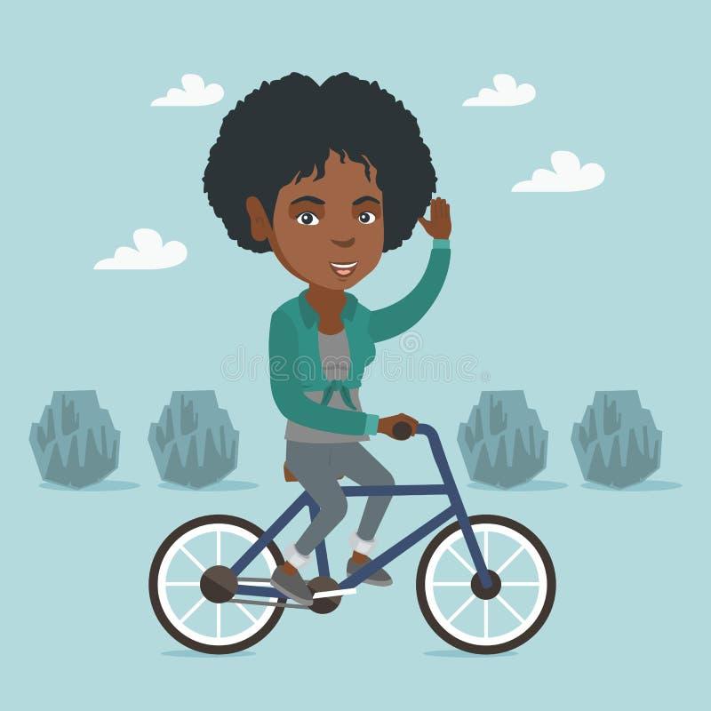 Ung afrikansk kvinnaridningcykel i parkera vektor illustrationer