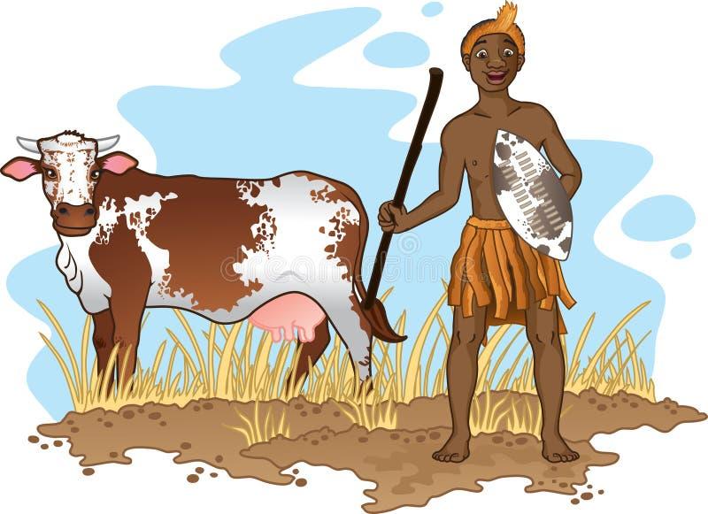 Afrikansk man med kon royaltyfri illustrationer