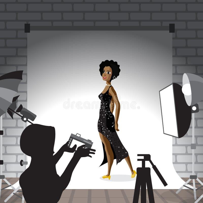 Ung afro kvinna som poserar i fotostudio på vit bakgrund Vec royaltyfri illustrationer