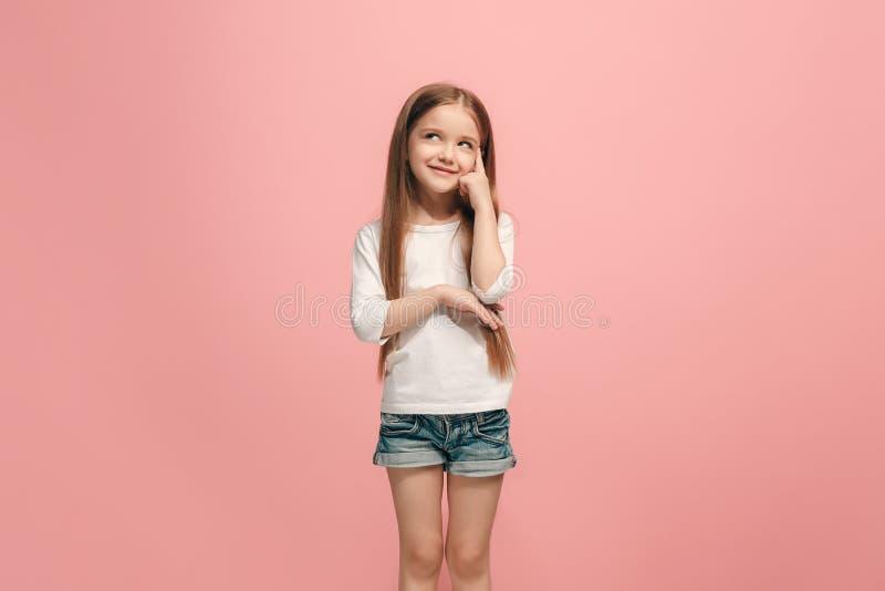 Ung allvarlig fundersam tonårig flicka Tvivelbegrepp royaltyfri fotografi