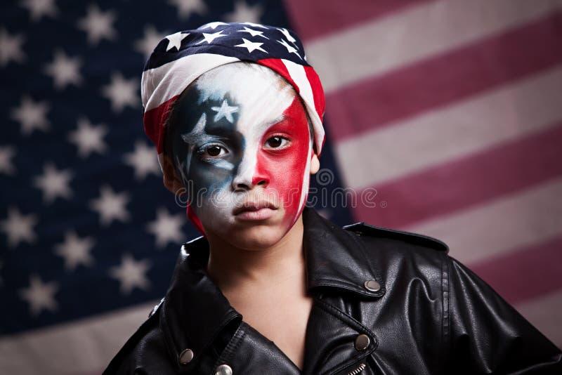 Ung amerikansk patriot arkivbilder