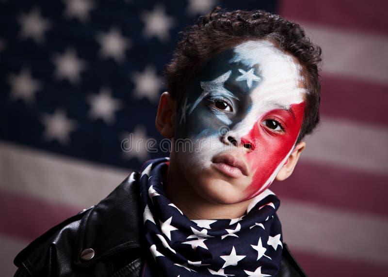 Ung amerikansk patriot royaltyfri fotografi