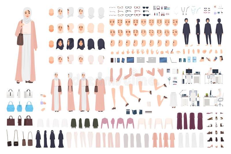 Ung arabisk uppsättning för konstruktör för affärskvinna eller skapelsesats Packe av kvinnliga kroppsdelar för kontorsarbetare, s vektor illustrationer